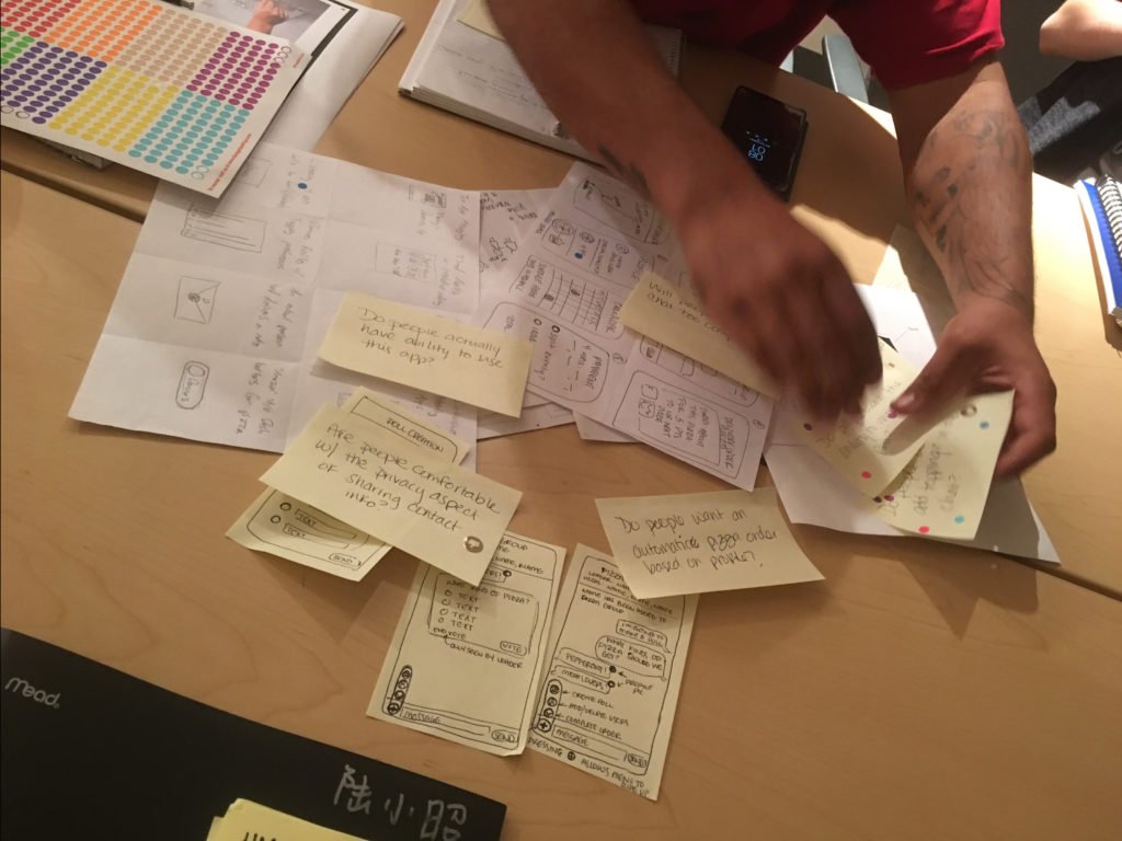 An image of collected post-it notes and sketches generated during the design sprint.