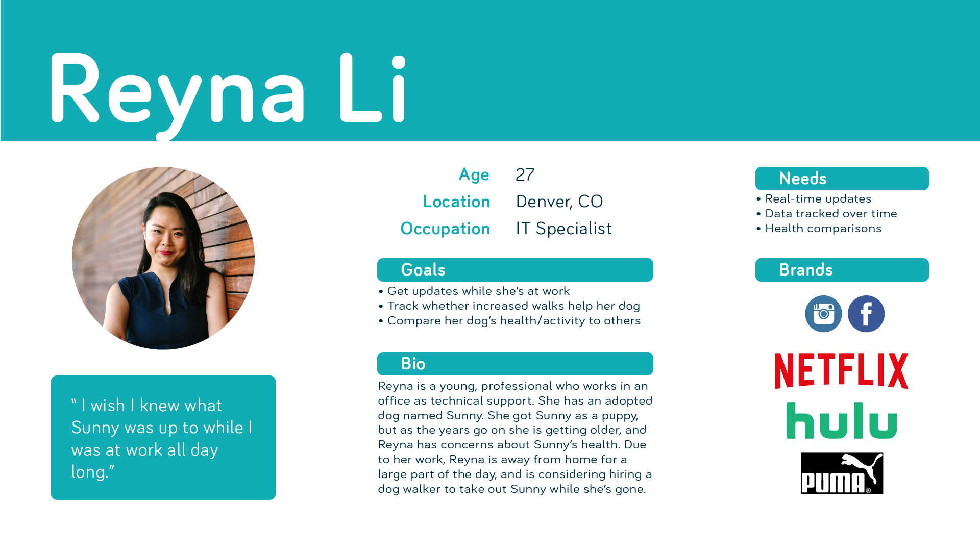 Proto-persona of Reyna Li, a pet owner who wishes that she could track her pet's health better, especially since she's at work for so long.