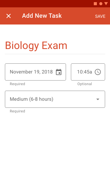 The full screen dialogue allows users to enter task due dates and enables Schedule Buddy to schedule study/work sessions.