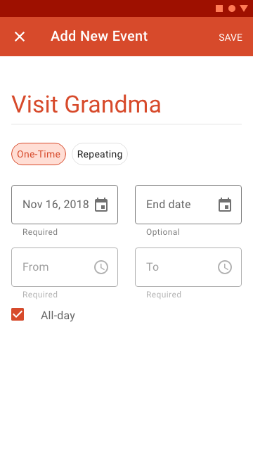 The full screen dialogue allows users to enter one-time schedule events, such as vacations.