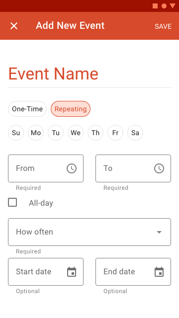 The full screen dialogue allows users to enter repeating schedule events, such as classes.