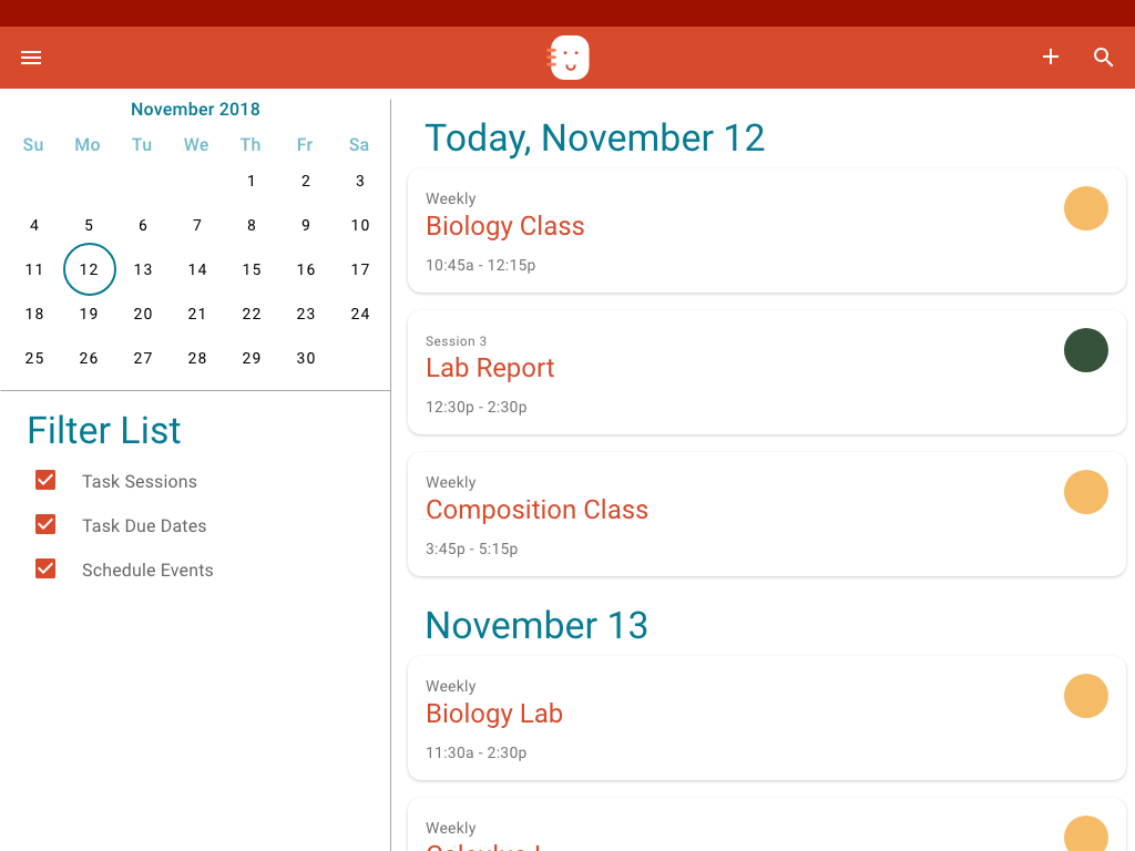 The tablet version of the Schedule Buddy Task List allows you to filter tasks.