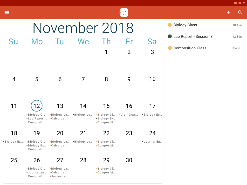 The tablet version of the Overview shows a more detailed calendar view.
