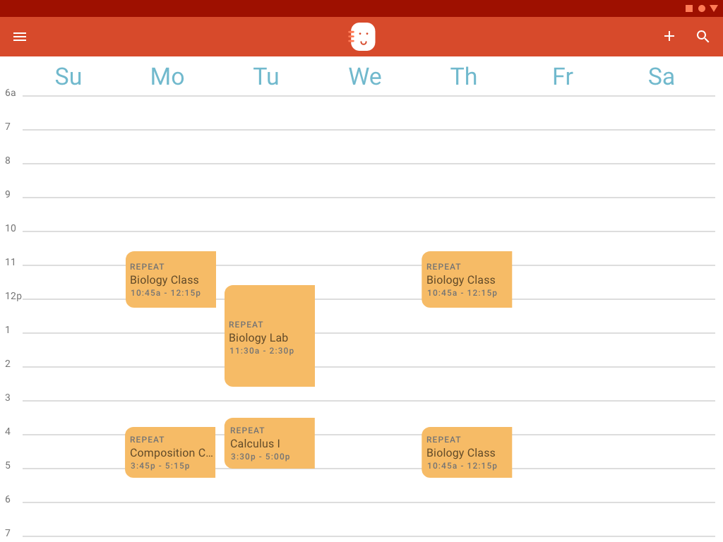 The tablet version of the Schedule view shows a more detailed weekly schedule.