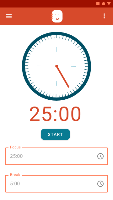 Schedule Buddy's Timer function screen allows users to work and take breaks at set intervals.