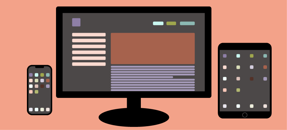 Vector graphic of a mobile phone, desktop monitor, and tablet.